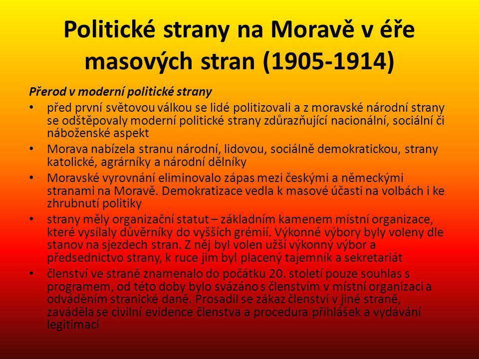 Politické strany na Moravě v éře masových stran (1905-1914) Přerod v moderní politické strany před první světovou válkou se lidé politizovali a z mora
