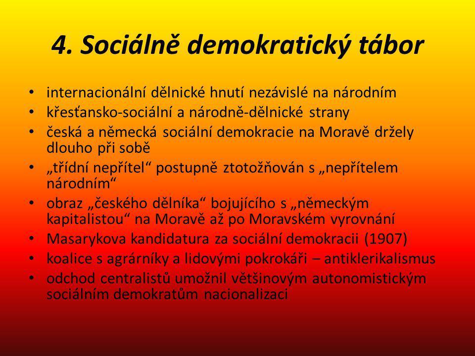 4. Sociálně demokratický tábor internacionální dělnické hnutí nezávislé na národním křesťansko-sociální a národně-dělnické strany česká a německá soci