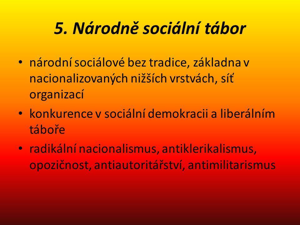 5. Národně sociální tábor národní sociálové bez tradice, základna v nacionalizovaných nižších vrstvách, síť organizací konkurence v sociální demokraci
