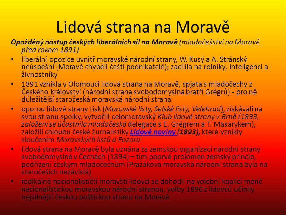 Otázky a úkoly Charakterizuj politické strany a tábory Moravy na přelomu 19.