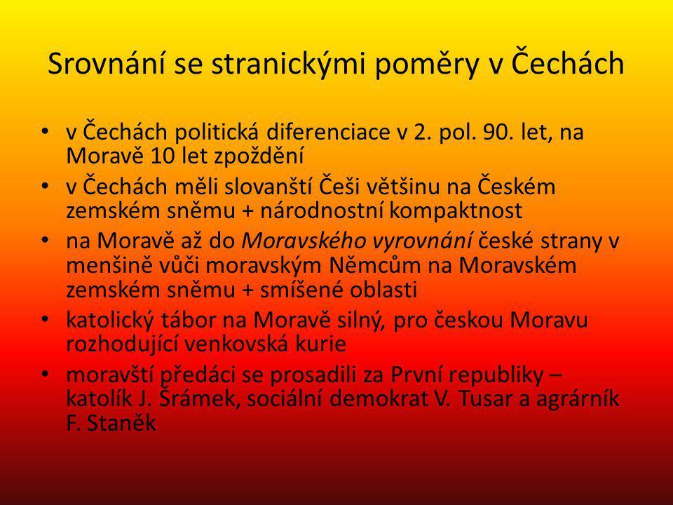 Srovnání se stranickými poměry v Čechách v Čechách politická diferenciace v 2. pol. 90. let, na Moravě 10 let zpoždění v Čechách měli slovanští Češi v
