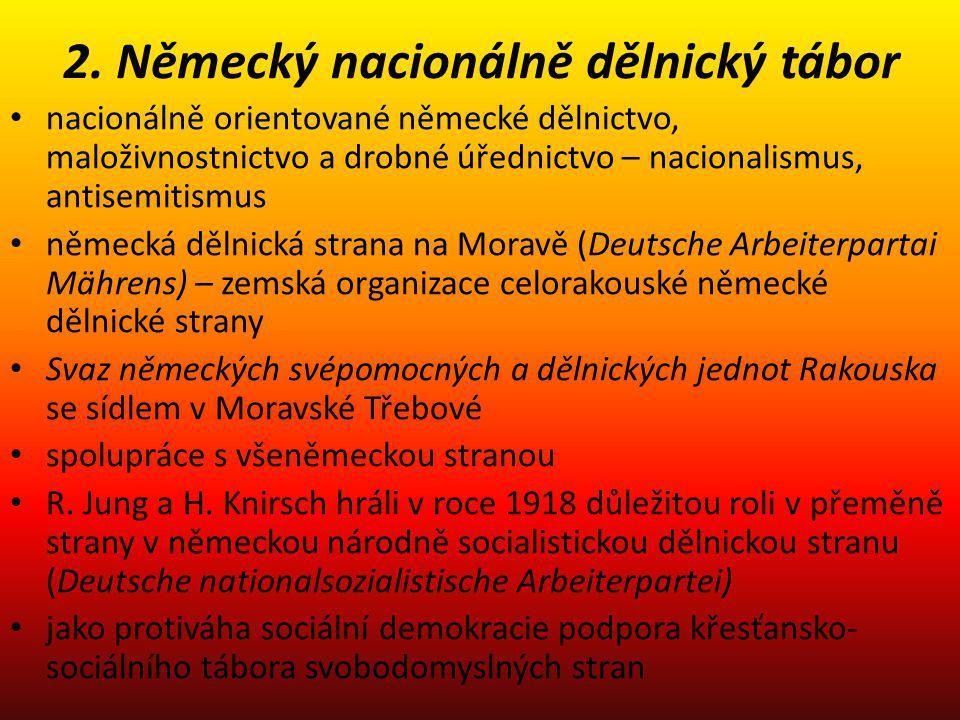 2. Německý nacionálně dělnický tábor nacionálně orientované německé dělnictvo, maloživnostnictvo a drobné úřednictvo – nacionalismus, antisemitismus n