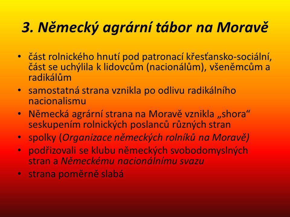 3. Německý agrární tábor na Moravě část rolnického hnutí pod patronací křesťansko-sociální, část se uchýlila k lidovcům (nacionálům), všeněmcům a radi