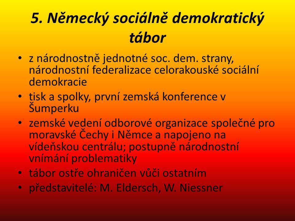 5. Německý sociálně demokratický tábor z národnostně jednotné soc. dem. strany, národnostní federalizace celorakouské sociální demokracie tisk a spolk