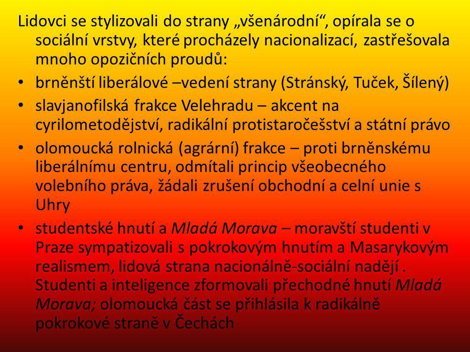 """Lidovci se stylizovali do strany """"všenárodní"""", opírala se o sociální vrstvy, které procházely nacionalizací, zastřešovala mnoho opozičních proudů: brn"""