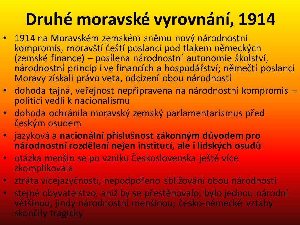 Druhé moravské vyrovnání, 1914 1914 na Moravském zemském sněmu nový národnostní kompromis, moravští čeští poslanci pod tlakem německých (zemské financ