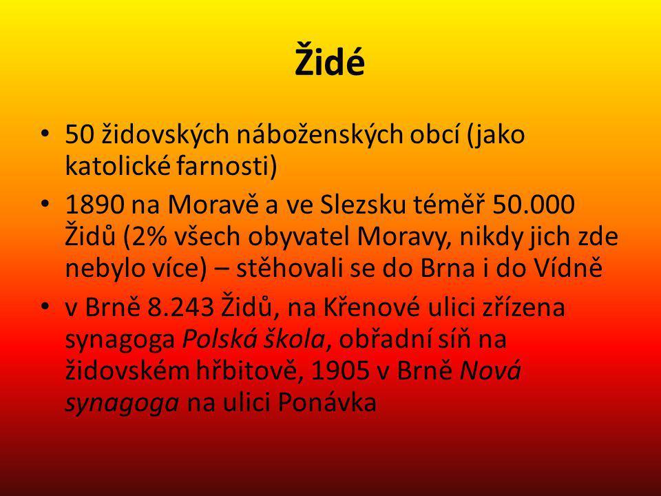 Židé 50 židovských náboženských obcí (jako katolické farnosti) 1890 na Moravě a ve Slezsku téměř 50.000 Židů (2% všech obyvatel Moravy, nikdy jich zde