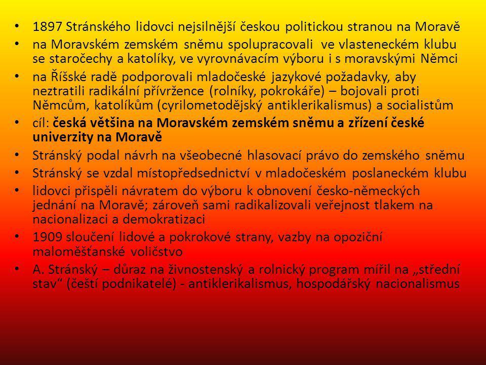 1897 Stránského lidovci nejsilnější českou politickou stranou na Moravě na Moravském zemském sněmu spolupracovali ve vlasteneckém klubu se staročechy