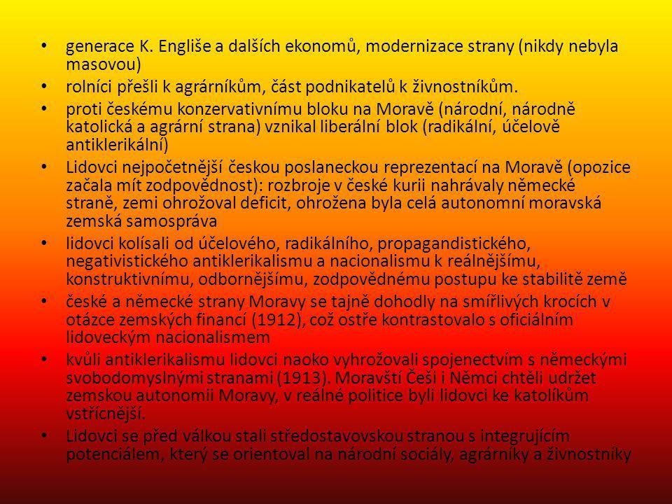 všeobecné, rovné, přímé a tajné volební právo do Moravského zemského sněmu zavedeno nebylo, ustálila se česká většina a německá menšina národnostní kompromis na Moravě byl jedním z mála úspěšných, pomáhal soužití etnicky/ národnostně smíšeného obyvatelstva, které přes staletí soužití rozdělila desetiletí českého a německého nacionálního hnutí možný model pro jiné rakouské země – jazykový boj a národnostní otázka jsou řešitelné na rozdíl od Čech získala moravsko-česká politická reprezentace majoritu na Moravském zemském sněmu až Moravským paktem, nebyla však jednotná a nedokázala nést odpovědnost vůdce moravské národní strany Jan Žáček, český nacionalista i rakouský patriot, zdůrazňoval Palackého myšlenku, že národy v Rakousku musí být rovnoprávné, patřil k hlavním tvůrcům moravského paktu; poslanec Bubela prohlásil, že nyní, když si sebe obě národnosti váží, měly se také naučit trochu se mít rády, milovat i řeč druhého etnika, aby na Moravě nastaly lepší časy velký podíl na Moravském vyrovnání měli politici lidové strany Václav Perek a Adolf Stránský Moravské vyrovnání bylo konsenzem politických elit všech hlavních českých i německých politických táborů na Moravě.