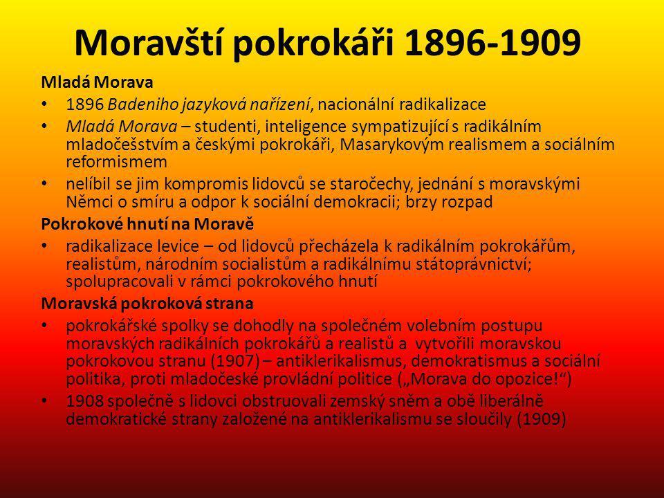 Moravští pokrokáři 1896-1909 Mladá Morava 1896 Badeniho jazyková nařízení, nacionální radikalizace Mladá Morava – studenti, inteligence sympatizující
