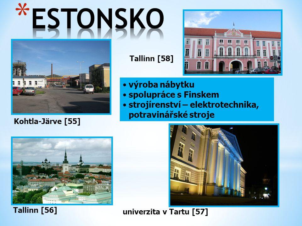 Kohtla-Järve [55] Tallinn [56] výroba nábytku spolupráce s Finskem strojírenství – elektrotechnika, potravinářské stroje Tallinn [58] univerzita v Tar