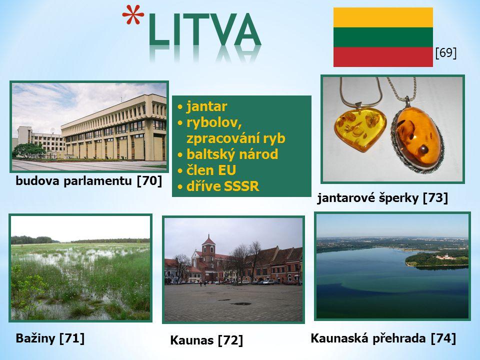 budova parlamentu [70] Bažiny [71] jantar rybolov, zpracování ryb baltský národ člen EU dříve SSSR Kaunas [72] Kaunaská přehrada [74] jantarové šperky