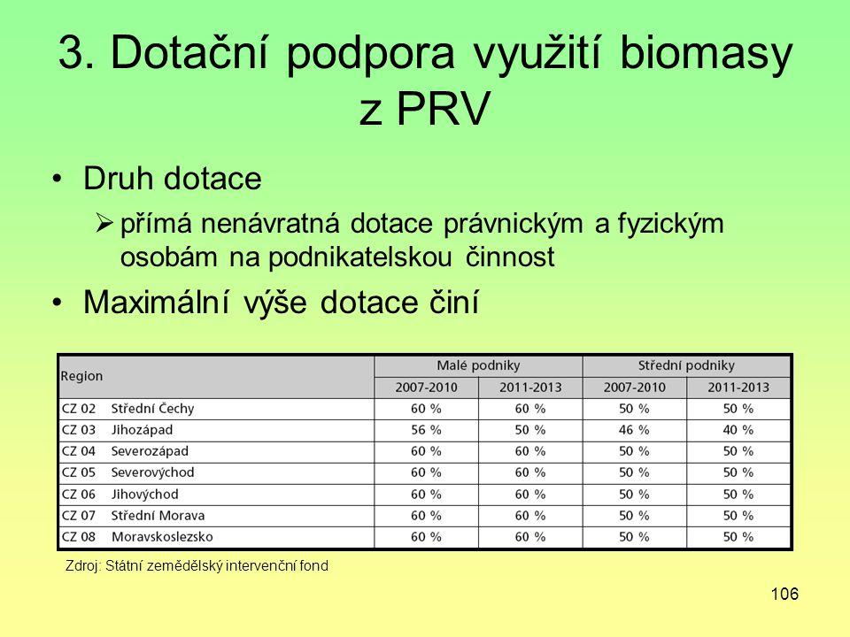 106 3. Dotační podpora využití biomasy z PRV Druh dotace  přímá nenávratná dotace právnickým a fyzickým osobám na podnikatelskou činnost Maximální vý