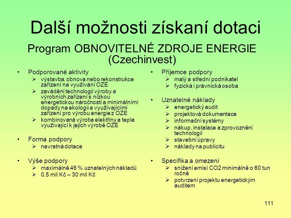111 Další možnosti získaní dotaci Podporované aktivity  výstavba, obnova nebo rekonstrukce zařízení na využívání OZE  zavádění technologií výroby a