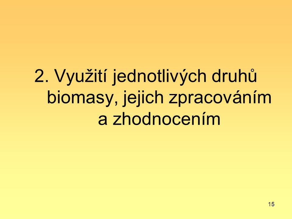 15 2. Využití jednotlivých druhů biomasy, jejich zpracováním a zhodnocením