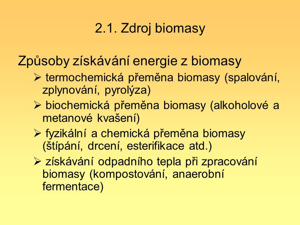 2.1. Zdroj biomasy Způsoby získávání energie z biomasy  termochemická přeměna biomasy (spalování, zplynování, pyrolýza)  biochemická přeměna biomasy