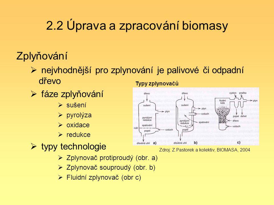 2.2 Úprava a zpracování biomasy Zplyňování  nejvhodnější pro zplynování je palivové či odpadní dřevo  fáze zplyňování  sušení  pyrolýza  oxidace