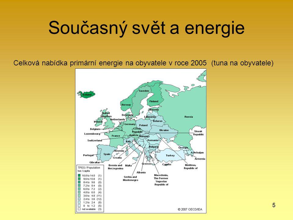 5 Současný svět a energie Celková nabídka primární energie na obyvatele v roce 2005 (tuna na obyvatele)