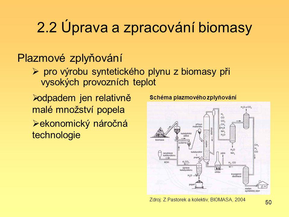 50 2.2 Úprava a zpracování biomasy Plazmové zplyňování  pro výrobu syntetického plynu z biomasy při vysokých provozních teplot Schéma plazmového zply