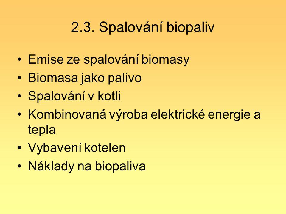 2.3. Spalování biopaliv Emise ze spalování biomasy Biomasa jako palivo Spalování v kotli Kombinovaná výroba elektrické energie a tepla Vybavení kotele