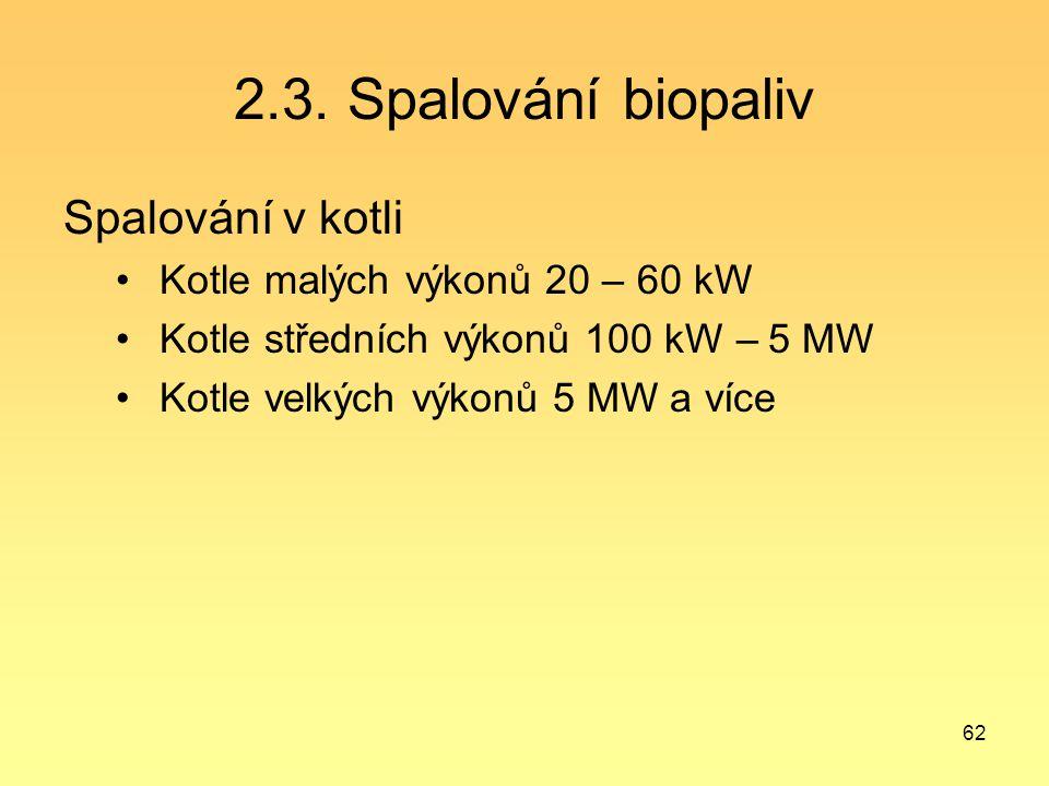 62 2.3. Spalování biopaliv Spalování v kotli Kotle malých výkonů 20 – 60 kW Kotle středních výkonů 100 kW – 5 MW Kotle velkých výkonů 5 MW a více