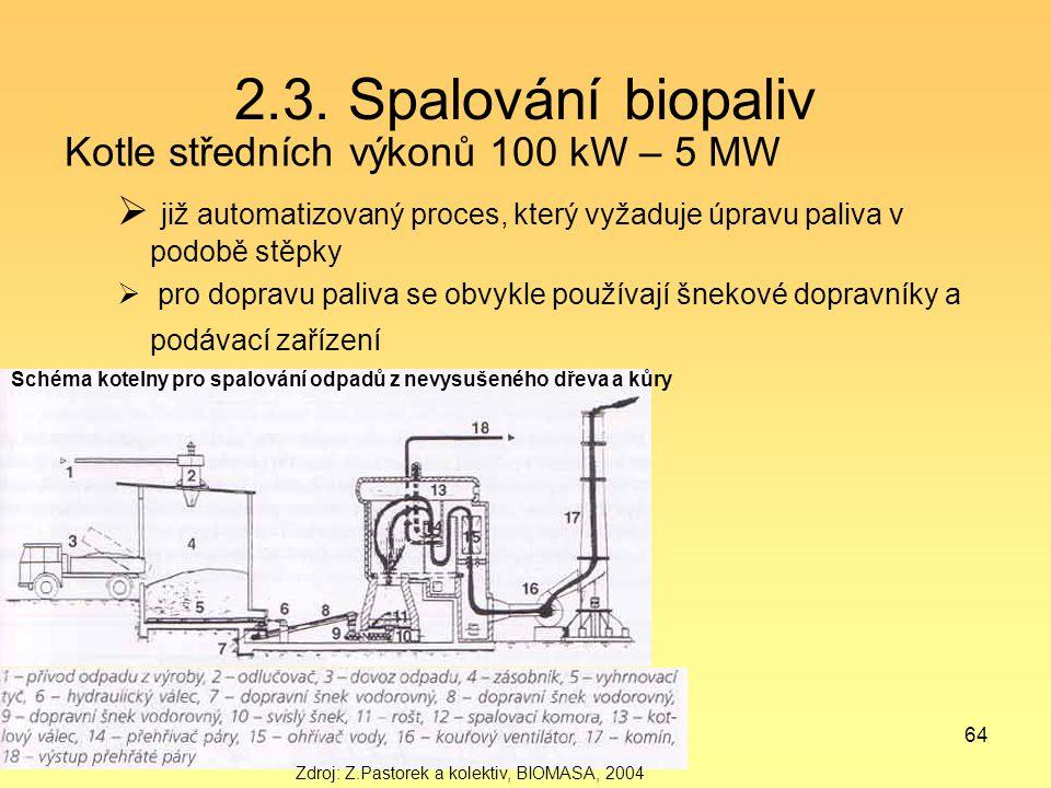 64 2.3. Spalování biopaliv Kotle středních výkonů 100 kW – 5 MW  již automatizovaný proces, který vyžaduje úpravu paliva v podobě stěpky  pro doprav