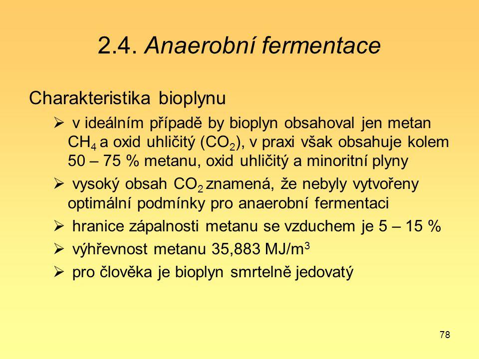 78 2.4. Anaerobní fermentace Charakteristika bioplynu  v ideálním případě by bioplyn obsahoval jen metan CH 4 a oxid uhličitý (CO 2 ), v praxi však o