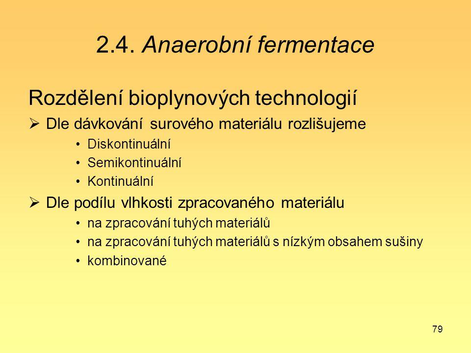 79 2.4. Anaerobní fermentace Rozdělení bioplynových technologií  Dle dávkování surového materiálu rozlišujeme Diskontinuální Semikontinuální Kontinuá