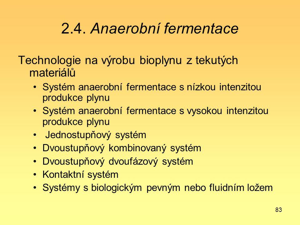83 2.4. Anaerobní fermentace Technologie na výrobu bioplynu z tekutých materiálů Systém anaerobní fermentace s nízkou intenzitou produkce plynu Systém