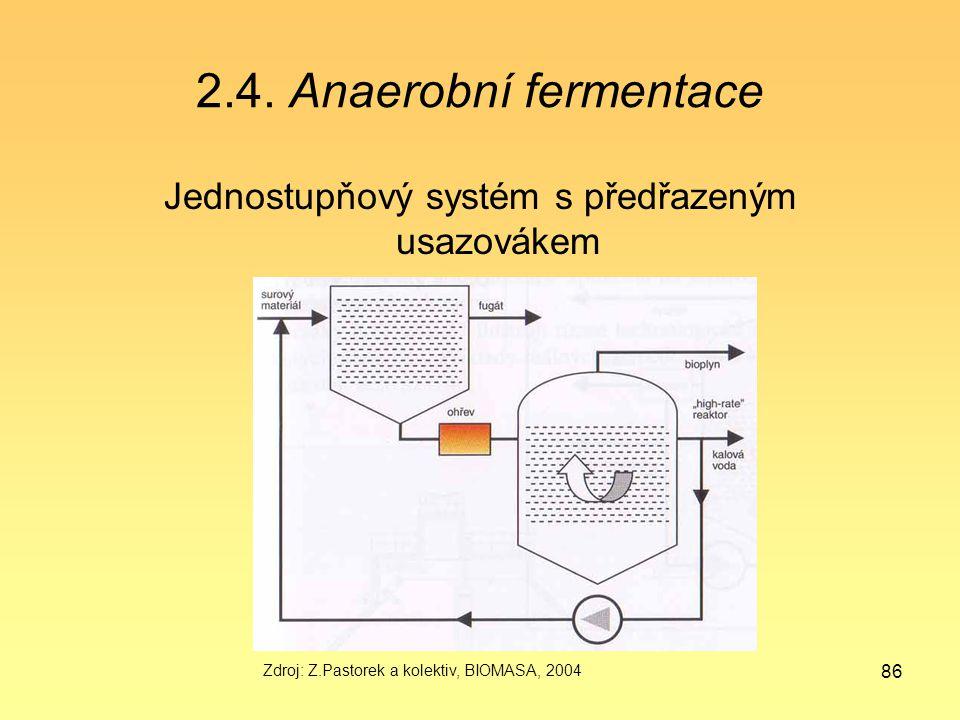86 2.4. Anaerobní fermentace Jednostupňový systém s předřazeným usazovákem Zdroj: Z.Pastorek a kolektiv, BIOMASA, 2004