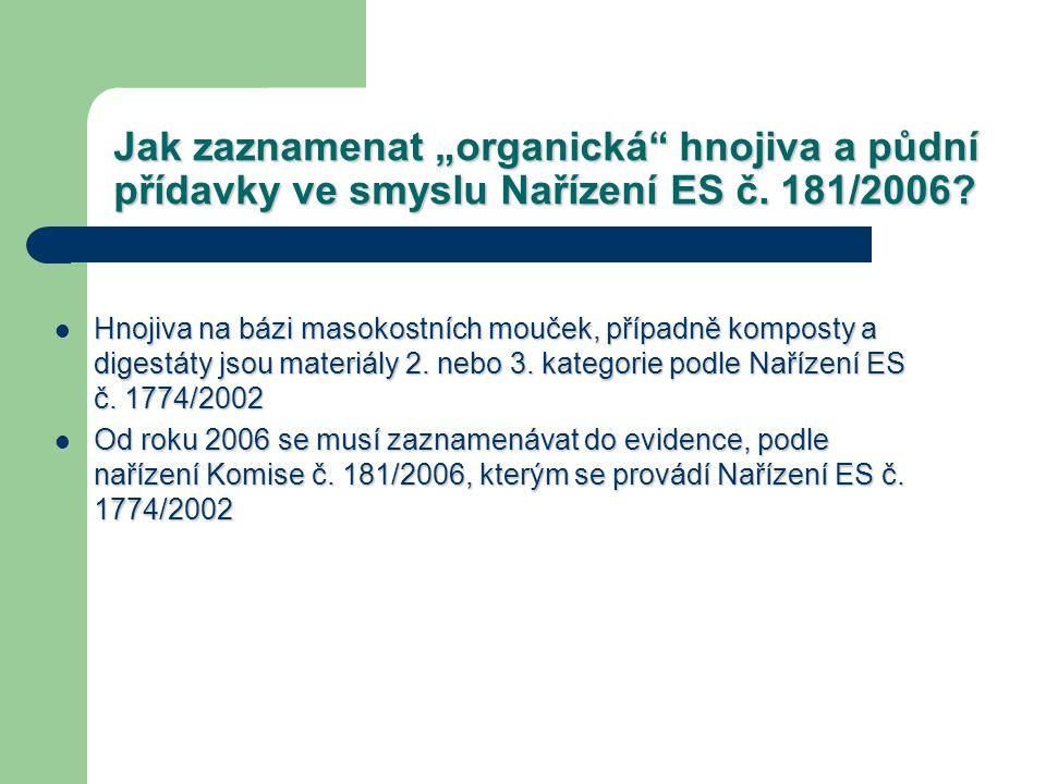 """Jak zaznamenat """"organická"""" hnojiva a půdní přídavky ve smyslu Nařízení ES č. 181/2006? Hnojiva na bázi masokostních mouček, případně komposty a digest"""
