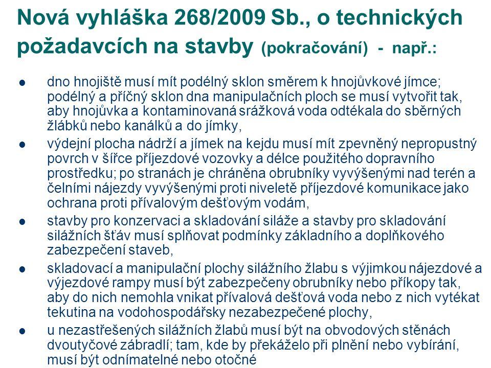 Nová vyhláška 268/2009 Sb., o technických požadavcích na stavby (pokračování) - např.: dno hnojiště musí mít podélný sklon směrem k hnojůvkové jímce;