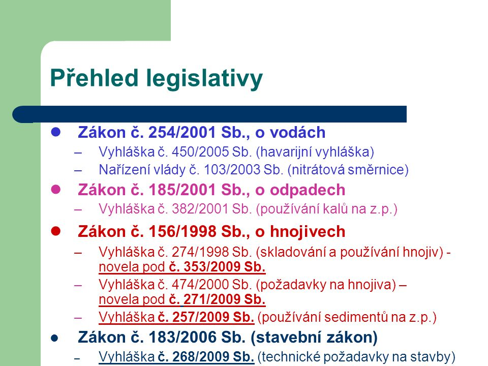 Přehled legislativy Zákon č. 254/2001 Sb., o vodách –Vyhláška č. 450/2005 Sb. (havarijní vyhláška) –Nařízení vlády č. 103/2003 Sb. (nitrátová směrnice