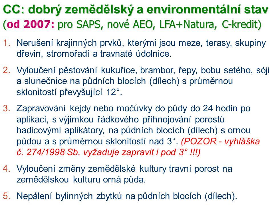CC: dobrý zemědělský a environmentální stav (pro SAPS, nové AEO, LFA+Natura, C-kredit) (od 2007: pro SAPS, nové AEO, LFA+Natura, C-kredit) 1.Nerušení