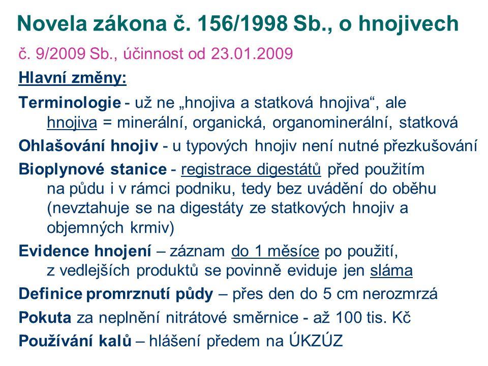 """Novela zákona č. 156/1998 Sb., o hnojivech č. 9/2009 Sb., účinnost od 23.01.2009 Hlavní změny: Terminologie - už ne """"hnojiva a statková hnojiva"""", ale"""