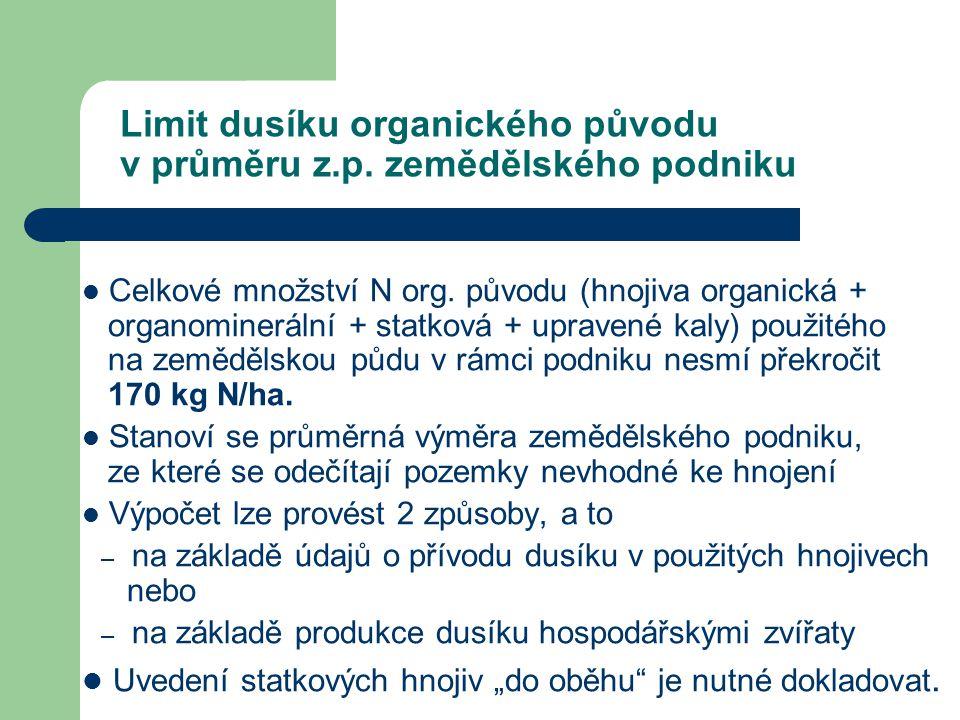 Limit dusíku organického původu v průměru z.p. zemědělského podniku Celkové množství N org. původu (hnojiva organická + organominerální + statková + u