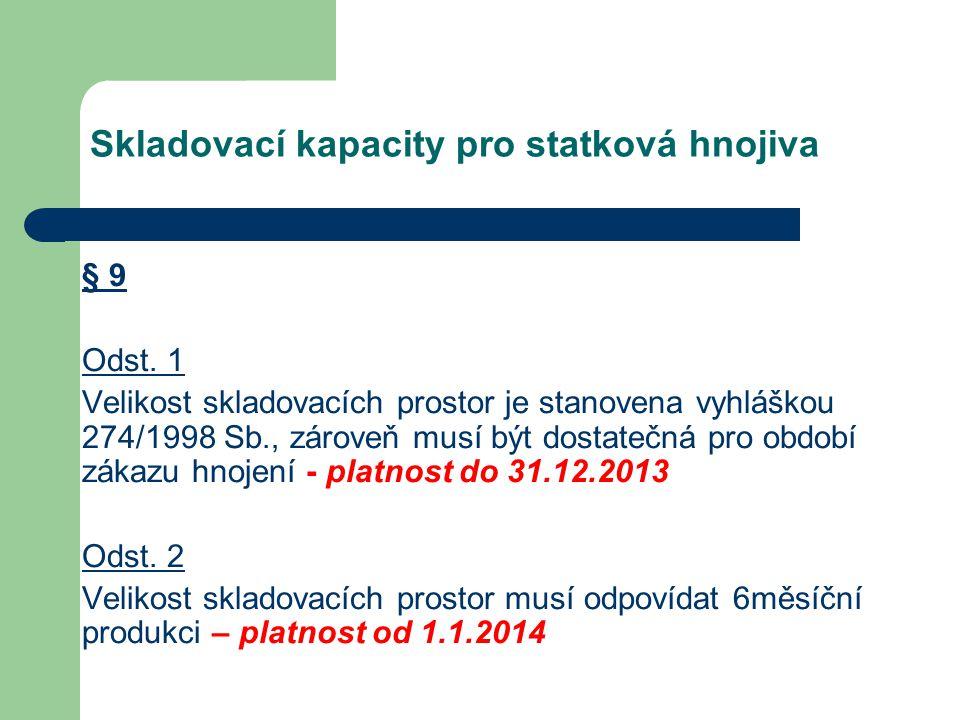 Skladovací kapacity pro statková hnojiva § 9 Odst. 1 Velikost skladovacích prostor je stanovena vyhláškou 274/1998 Sb., zároveň musí být dostatečná pr