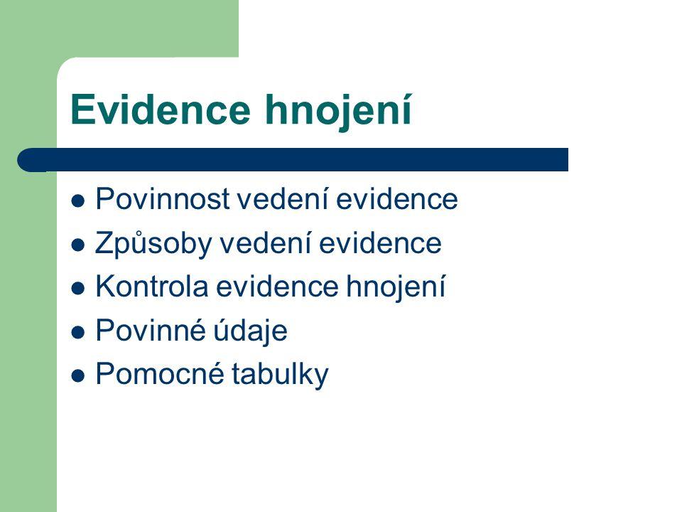 Evidence hnojení Povinnost vedení evidence Způsoby vedení evidence Kontrola evidence hnojení Povinné údaje Pomocné tabulky