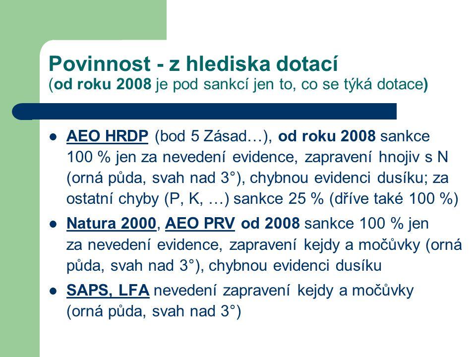 Povinnost - z hlediska dotací (od roku 2008 je pod sankcí jen to, co se týká dotace) AEO HRDP (bod 5 Zásad…), od roku 2008 sankce 100 % jen za neveden