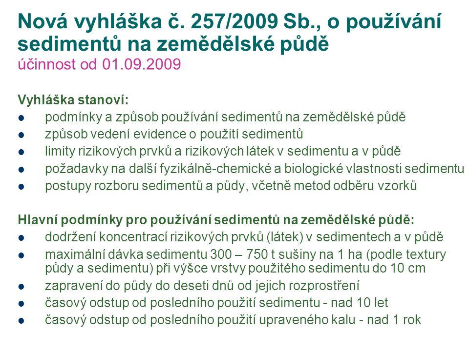 Nová vyhláška č. 257/2009 Sb., o používání sedimentů na zemědělské půdě účinnost od 01.09.2009 Vyhláška stanoví: podmínky a způsob používání sedimentů
