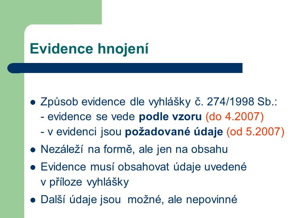 Evidence hnojení Způsob evidence dle vyhlášky č. 274/1998 Sb.: - evidence se vede podle vzoru (do 4.2007) - v evidenci jsou požadované údaje (od 5.200