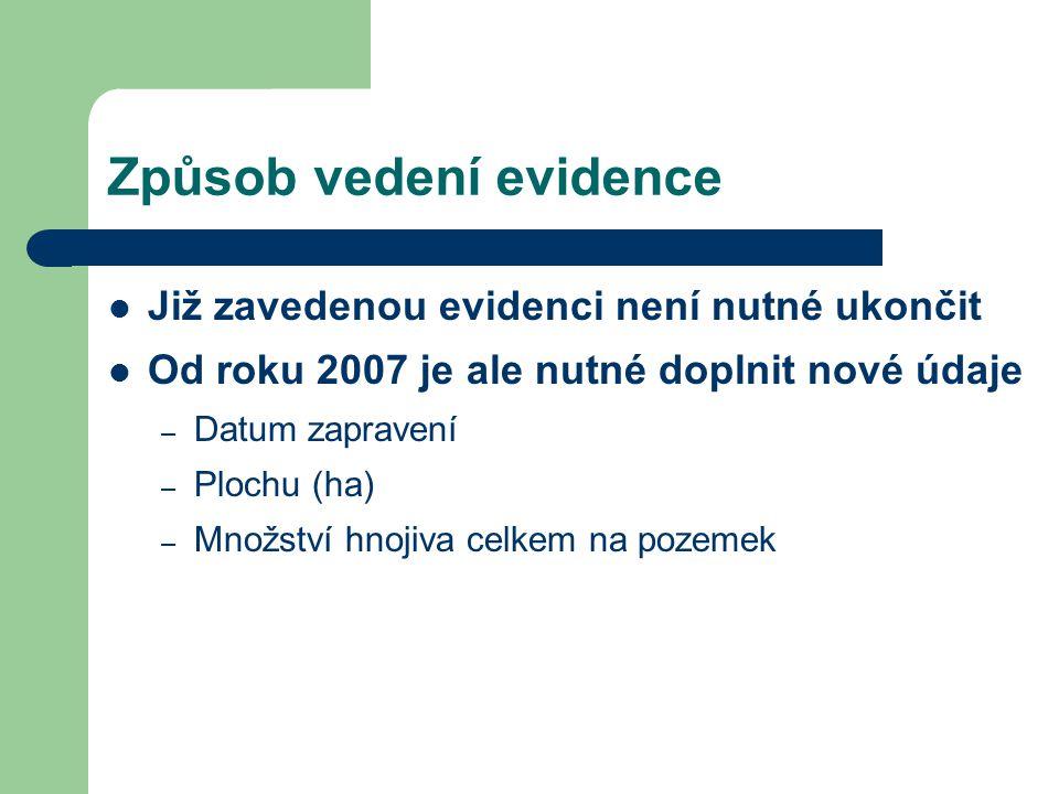 Způsob vedení evidence Již zavedenou evidenci není nutné ukončit Od roku 2007 je ale nutné doplnit nové údaje – Datum zapravení – Plochu (ha) – Množst