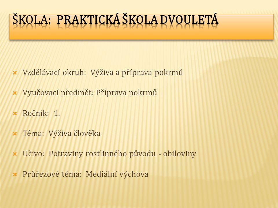  Vzdělávací okruh: Výživa a příprava pokrmů  Vyučovací předmět: Příprava pokrmů  Ročník: 1.