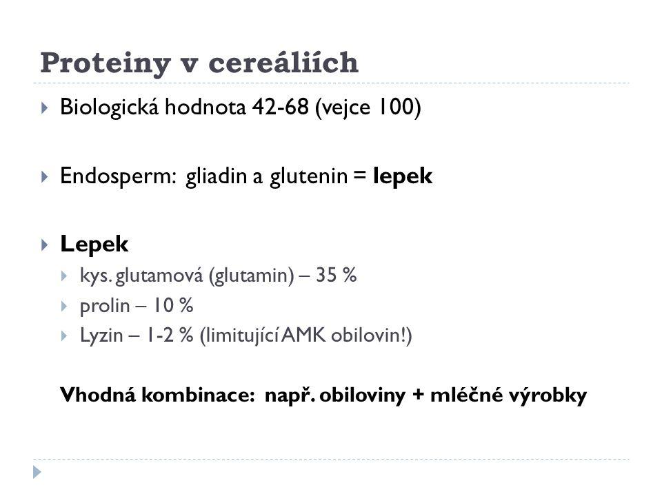 Proteiny v cereáliích  Biologická hodnota 42-68 (vejce 100)  Endosperm: gliadin a glutenin = lepek  Lepek  kys. glutamová (glutamin) – 35 %  prol