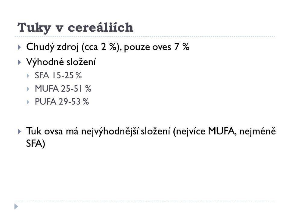 Tuky v cereáliích  Chudý zdroj (cca 2 %), pouze oves 7 %  Výhodné složení  SFA 15-25 %  MUFA 25-51 %  PUFA 29-53 %  Tuk ovsa má nejvýhodnější sl