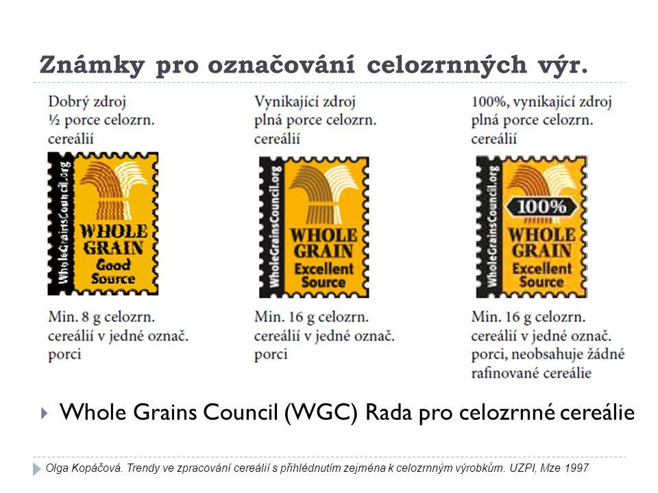 Známky pro označování celozrnných výr.  Whole Grains Council (WGC) Rada pro celozrnné cereálie Olga Kopáčová. Trendy ve zpracování cereálií s přihléd