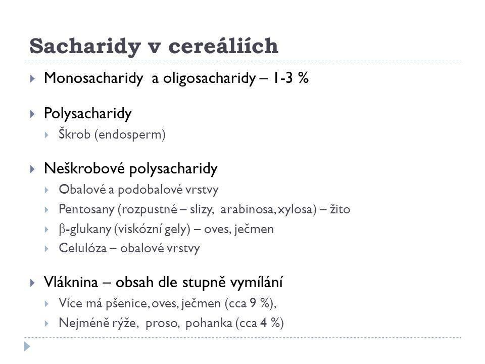 Sacharidy v cereáliích  Monosacharidy a oligosacharidy – 1-3 %  Polysacharidy  Škrob (endosperm)  Neškrobové polysacharidy  Obalové a podobalové