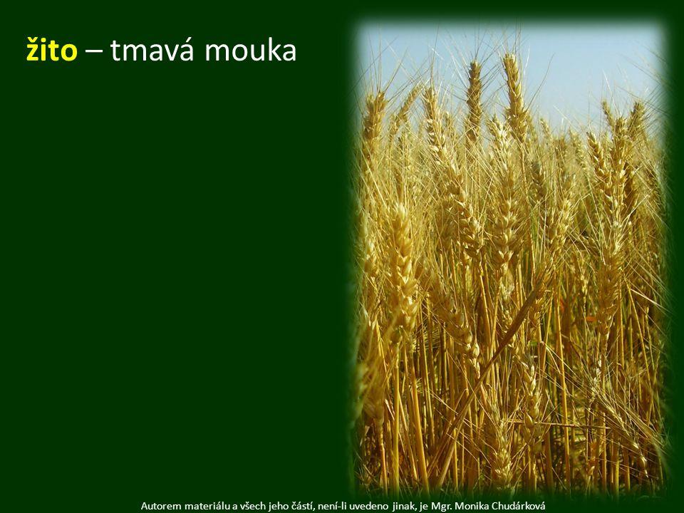 Autorem materiálu a všech jeho částí, není-li uvedeno jinak, je Mgr. Monika Chudárková žito – tmavá mouka