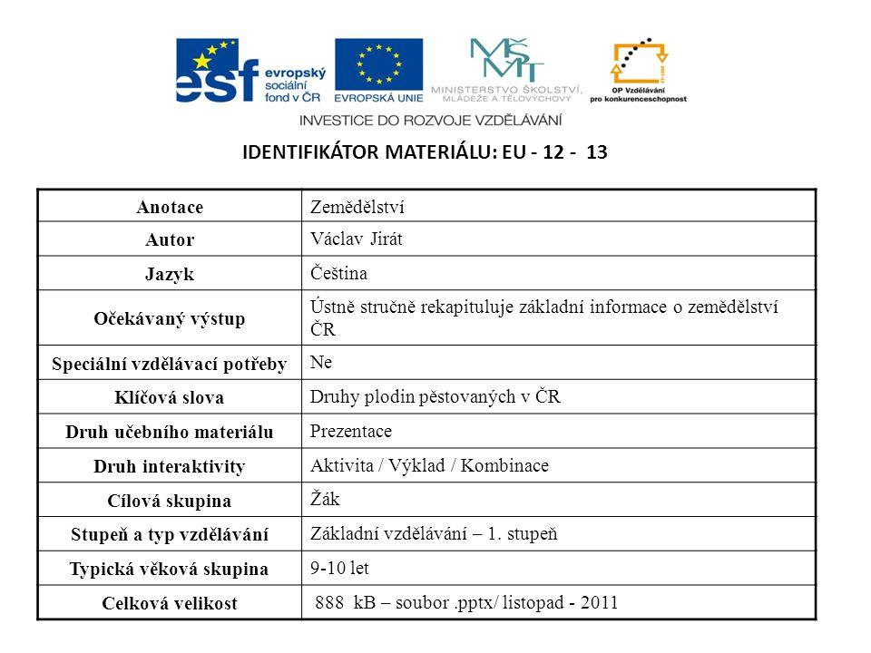 IDENTIFIKÁTOR MATERIÁLU: EU - 12 - 13 AnotaceZemědělství Autor Václav Jirát Jazyk Čeština Očekávaný výstup Ústně stručně rekapituluje základní informa