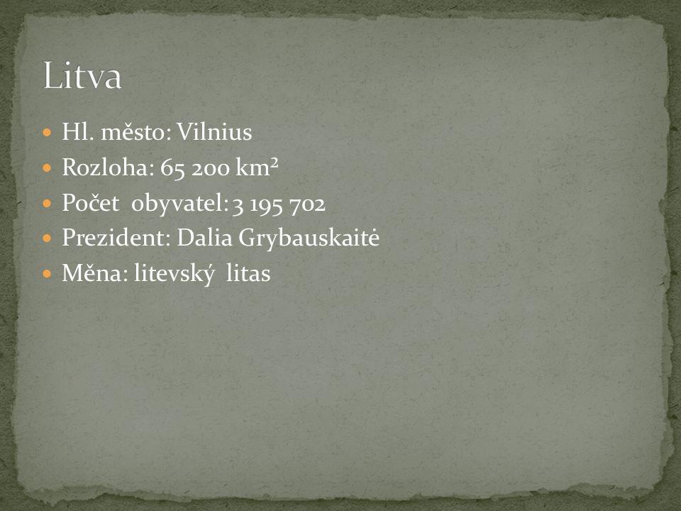 Hl. město: Vilnius Rozloha: 65 200 km² Počet obyvatel: 3 195 702 Prezident: Dalia Grybauskaitė Měna: litevský litas
